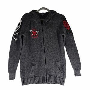 Torrid Black Skull Knit Zip Hoodie Black 00